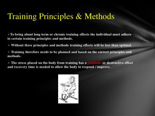 Training Principles & Methods