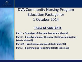 DVA Community Nursing Program  Education Package for  1 October 2014
