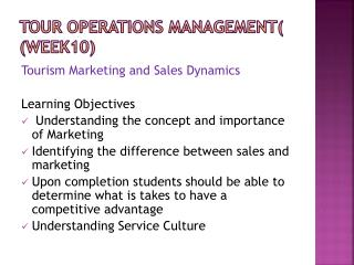 Tour Operations Management (  (Week10)