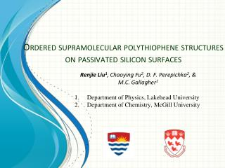 Ordered supramolecular polythiophene structures on passivated silicon surfaces