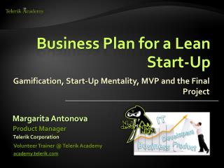 Business Plan for a Lean Start-Up