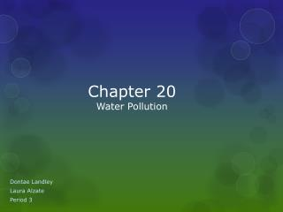 Chapter 20  Water Pollution