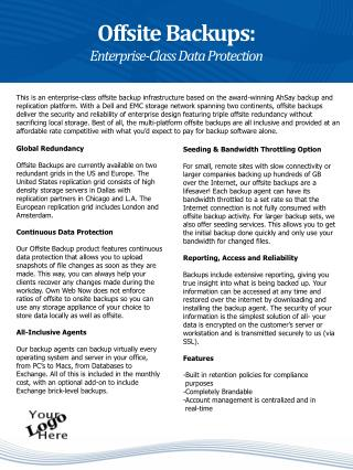 Offsite Backups: Enterprise-Class Data Protection