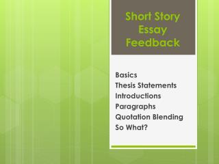 Short Story Essay Feedback