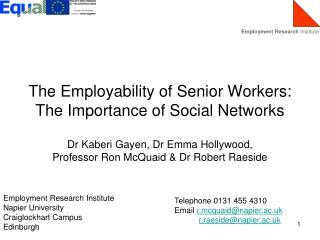 The Employability of Senior Workers: The Importance of Social Networks