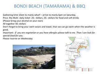 BONDI BEACH (TAMARAMA) & BBQ