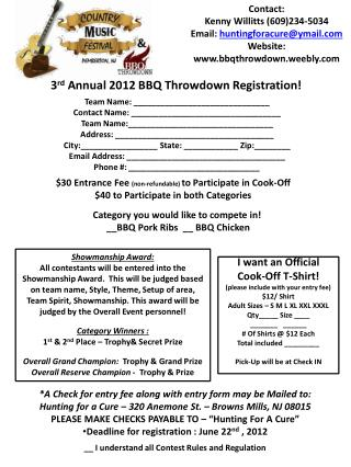 3 rd  Annual 2012 BBQ  Throwdown  Registration!