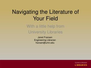 Navigating the Literature of Your Field