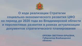 О ходе реализации Стратегии  социально-экономического  развития ЦФО