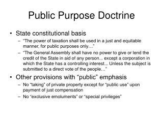 Public Purpose Doctrine