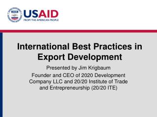 International Best Practices in Export Development