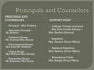 Principals and Counselors