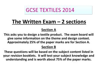 The Written Exam – 2 sections