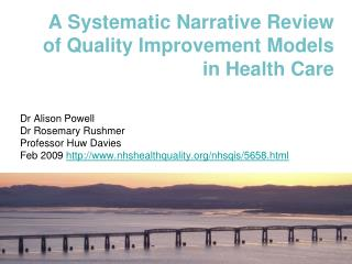 A Systematic Narrative Review of Quality Improvement Models in Health Care