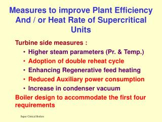 Measures to improve Plant Efficiency And