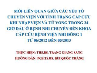 THỰC HIỆN: THS.BS. TRANG GIANG SANG HƯỚNG DẪN: PGS.TS.BS. BÙI QUỐC THẮNG