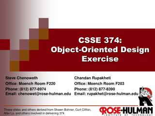 CSSE 374 : Object-Oriented Design Exercise
