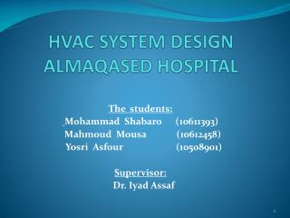 HVAC SYSTEM DESIGN ALMAQASED HOSPITAL