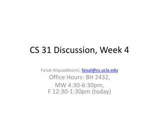CS 31 Discussion, Week  4