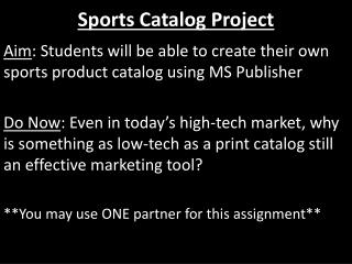 Sports Catalog Project