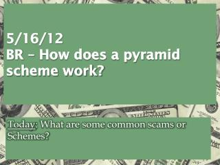 5/16/12 BR –  How does a pyramid  scheme work?