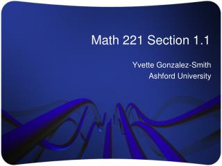 Math 221 Section 1.1