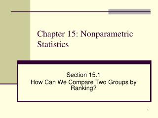 Chapter 15: Nonparametric Statistics