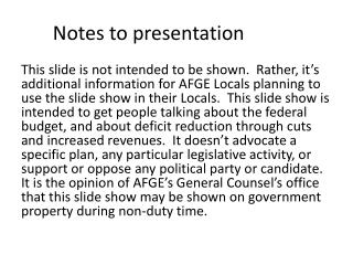 Notes to presentation
