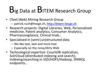 B ig  Data  at B ITEM  R esearch  Group