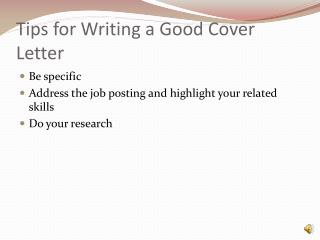 Tips for Writing a Good Cover Letter
