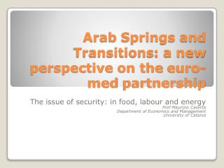 Arab  Springs and  Transitions : a  new perspective  on the  euro-med  partnership