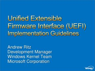 Unified Extensible Firmware Interface UEFI Implementation Guidelines