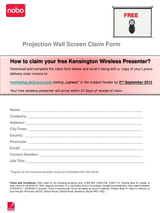 Projection Wall Screen Claim  Form