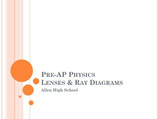Pre-AP Physics Lenses & Ray Diagrams