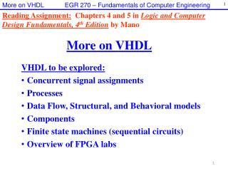 More on VHDL