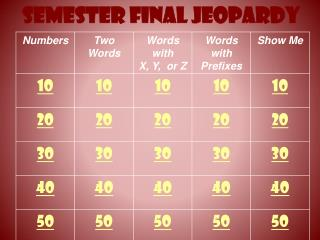 Semester Final Jeopardy