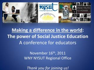 Making a difference in the world : The power of Social Justice Education