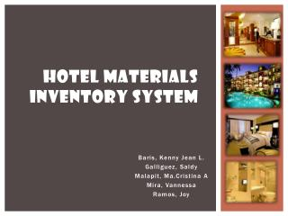 Hotel materials Inventory System