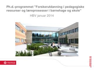"Ph.d .-programmet ""Forskerutdanning i pedagogiske ressurser og læreprosesser i barnehage og skole"""