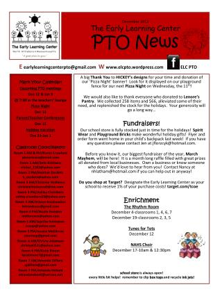 December 2013 The Early Learning Center PTO News