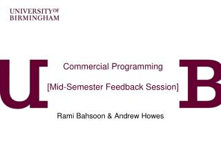 Commercial Programming [Mid-Semester Feedback Session]
