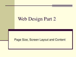 Web Design Part 2