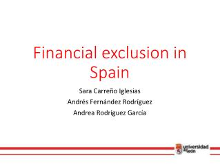 Financial exclusion  in  Spain