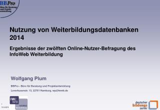 Nutzung von Weiterbildungsdatenbanken  2014