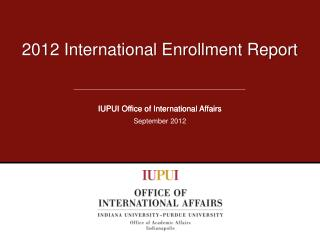 2012 International Enrollment Report