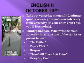 ENGLISH II OCTOBER 10 TH