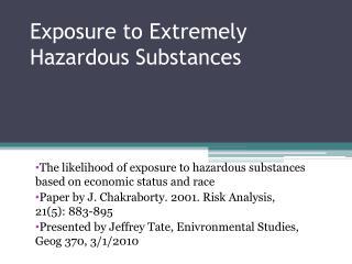 Exposure to Extremely Hazardous Substances