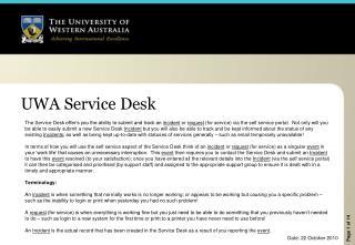 UWA  Service  Desk