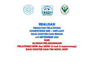 REALISASI  KEGIATAN PELATIHAN  KOMPETENSI IUD – IMPLANT BAGI DOKTER DAN BIDAN s/d SEPTEMBER 2011