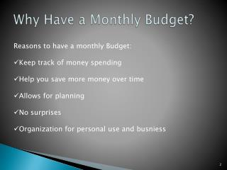 Why Have a Monthly Budget?